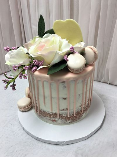 Birthday cake with French Macarons, Florals,  white chocolate drip - Design Me A Cupcake, Cambridge