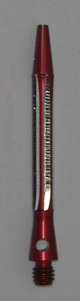 2 Sets (6 shafts) Aluminum 2BA, RED CONTOURED SHORT Dart Shafts