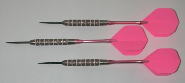 Pink Passion 27 gram Steel Tip Darts - 80% Tungsten, Knurled Grip