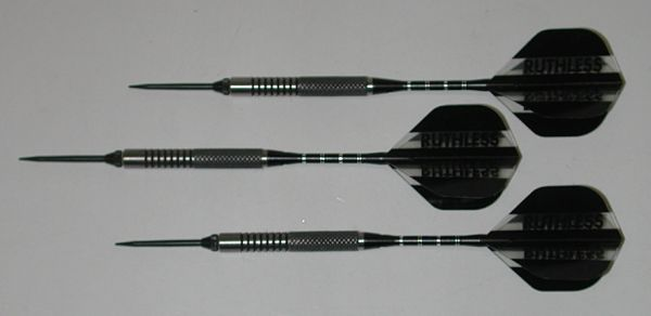P4 BlackLine 21 gram Steel Tip Darts - 80% Tungsten, Medium Grip - Style 4