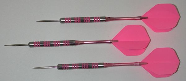 Pink Passion 23 gram Steel Tip Darts - 80% Tungsten, Ringed Grip - Style 2
