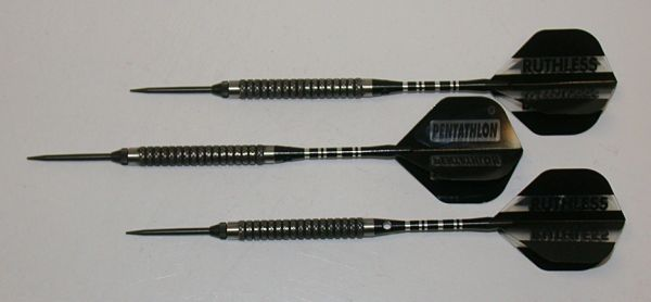 P4 BlackLine 21 gram Steel Tip Darts - 80% Tungsten, Medium Grip - Style 6