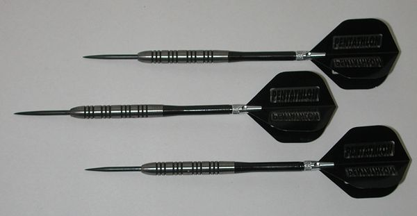 POWERGLIDE 21 gram Steel Tip Darts - 80% Tungsten, Ringed Grip -Style 7