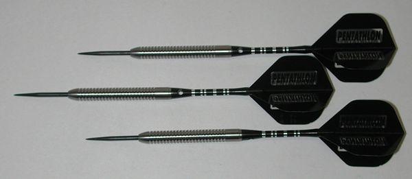Predator 24 gram Steel Tip Darts - 90% Tungsten, Tight Ringed Grip - Style RG - Silver