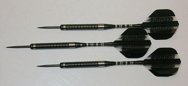 Predator 22 gram Steel Tip Darts - 90% Tungsten, Tight Ringed Grip - Style RG - Black