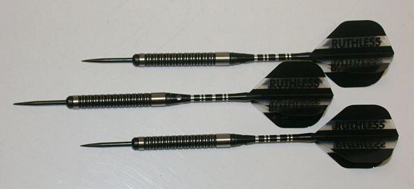 Predator 24 gram Steel Tip Darts - 90% Tungsten, Tight Ringed Grip - Style RG - Black