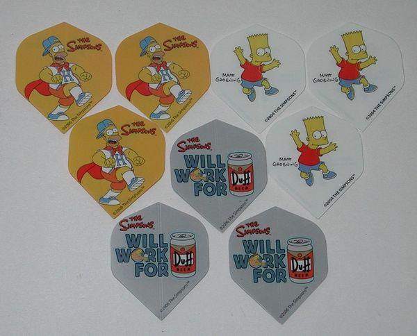 3 Set (9 flights) Different Simpsons Bart Homer Duff Standard Dart Flights - Simp07