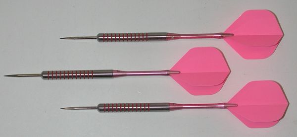 Pink Passion 24 gram Steel Tip Darts - 80% Tungsten, Ringed Grip - Style 1
