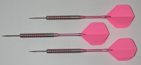 Pink Passion 28 gram Steel Tip Darts - 80% Tungsten, Ringed Grip - Style 1