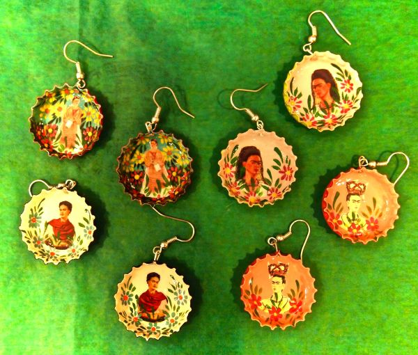 Frida bottle cap earrings