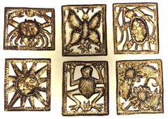 Haitian Steel Drum Art: Small Squares with Nature Theme