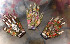 Victorian Painted Hands with Milagros