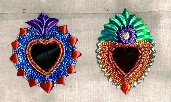 Tin Hearts with Mirror - small multicolored
