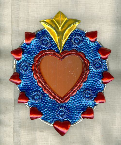 Tin Heart with Mirror - medium size