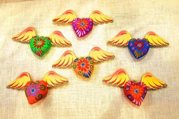 Paper mache hearts with wings