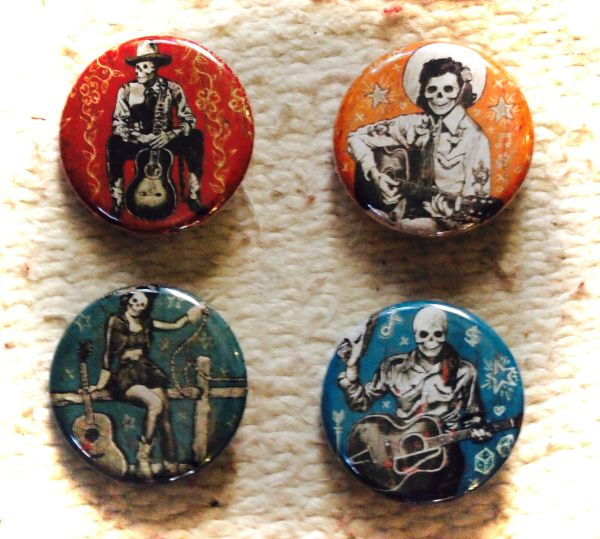 Guitar Playing Skeletons - Set of 4 Buttons (pins)