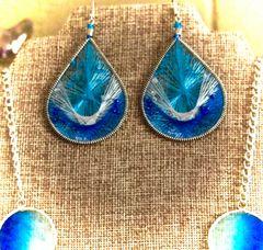 Beaded Thread Earrings - Ocean Blue