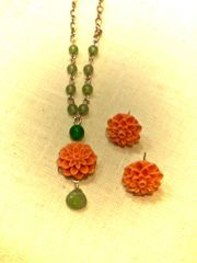 Tangerine Zinnia Post Earrings