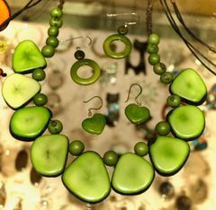 Lime Green Tagua Slice necklace