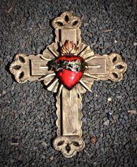 Tin Cross with Sacred Heart