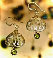 Peridot Earrings with Flower