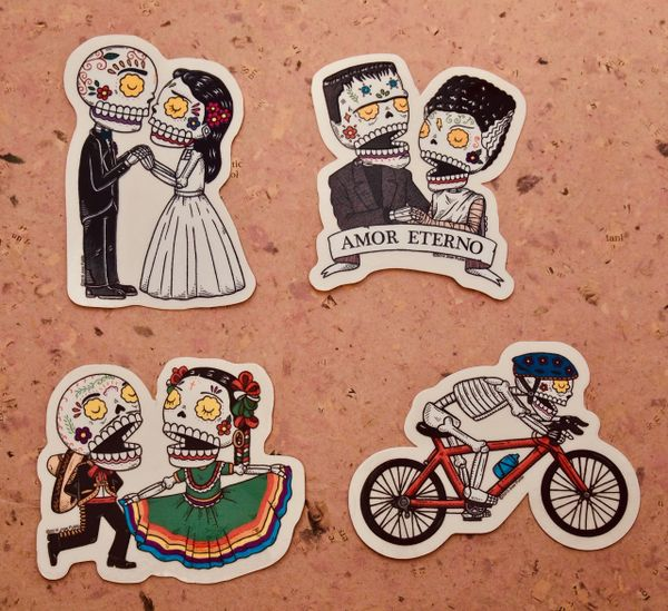 Calaveras stickers - Couples and Bike