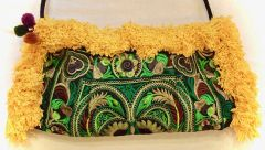 Green Bag with Yellow Fringe