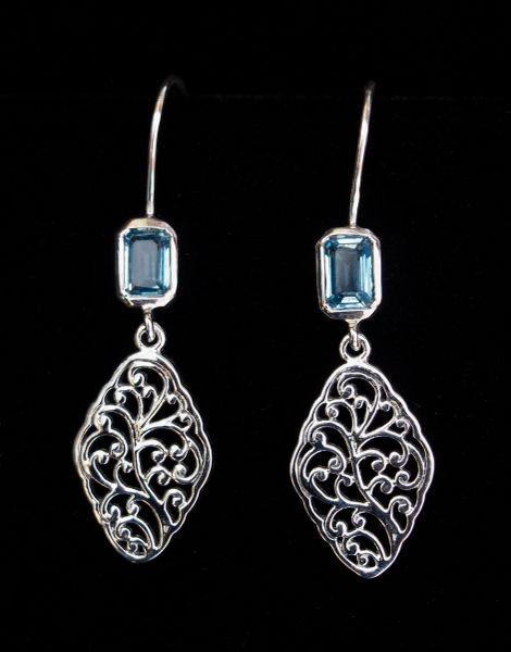 Lacy Blue Topaz Earrings