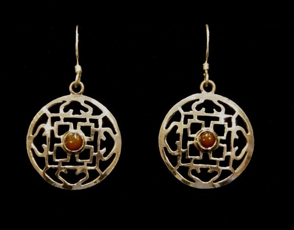 Wheel Earrings with Carnelian