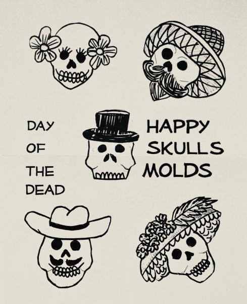 Sugar Skull Molds - Happy Skulls small 1 piece