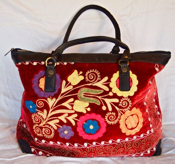 Vintage Suzani Red Velvet Overnight Bag
