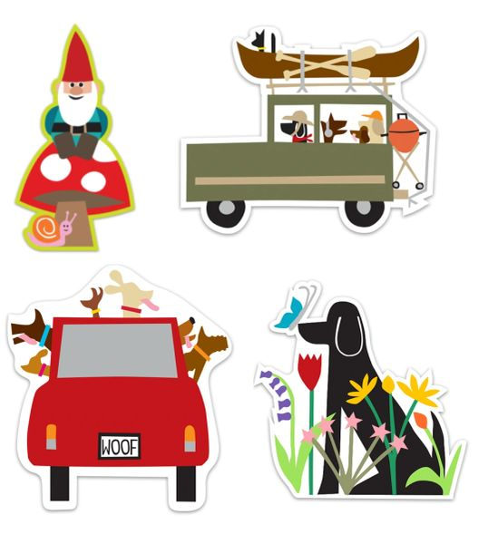 Bold Stickers I Dogs and a Gnome