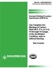 AWS- B2.1-1-008:2002(R2013) SWPS for Gas Tungsten Arc Welding of Carbon Steel, (M-1/P-1/S-1)