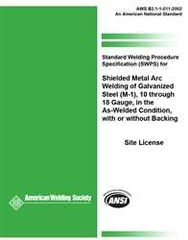 AWS- B2.1-1-011:2002-AMD1(R2013) SWPS) for Shielded Metal Arc Welding of Galvanized Steel, (M-1)