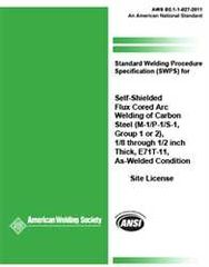 AWS- B2.1-1-027:2011 SWPS for Self-Shielded Flux Cored Arc Welding of Carbon Steel, (M-1/P-1/S-1, Group 1 or 2)