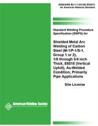 AWS- B2.1-1-203:1996(R2007) Standard Welding Procedure Specification (SWPS) for Shielded Metal Arc Welding of Carbon Steel, (M-1/P-1/S-1, Group 1 OR 2), 1/8 through 3/4 Inch Thick, E6010 (Vertical Uphill) , As-Welded Condition