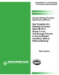 AWS- B2.1-002:1990 SWPS for Gas Tungsten Arc Welding of Carbon Steel, (M-1/P-1, Group 1 or 2)