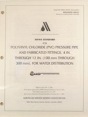 ANSI/AWWA-C900-97 Polyvinyl Chloride (PVC) Pressure Pipe and Fabricated Fittings, 4 in. through 12 in., for Water Distribution