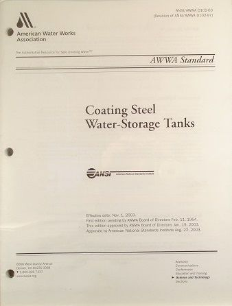 ANSI/AWWA-D102-03 Coating Steel Water-Storage Tanks (Printed Copy)
