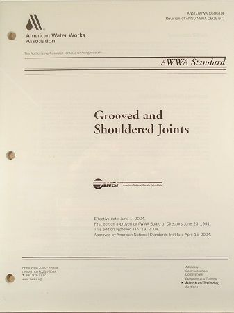 ANSI/AWWA-C606-04 Standard for Grooved and Shouldered Joints (Print Copy)
