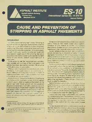 AI-ES-10 Cause and Prevention of Stripping in Asphalt Pavements