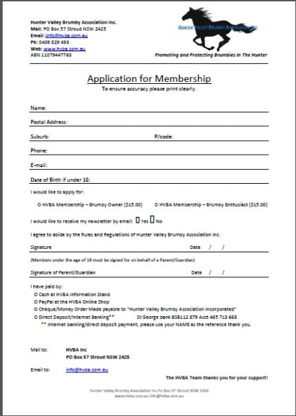 HVBA Annual Membership - Please download and complete application form below.
