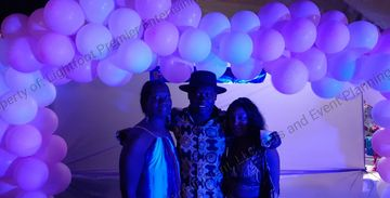 South Florida Garland Balloon rental with Lighting, backdrop and by Lightfoot Premier Entertainment