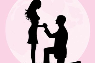 Engagement Party DJs and ideas, cartoon man proposing on knee to woman, DJ Lightfoot Premier Ent