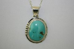 Turquoise Mountain Mine Turquoise Pendant - P421