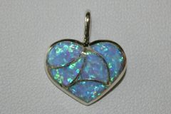 Blue Opal Inlay Heart Pendant - P1219 - SOLD
