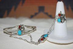 Turquoise & Coral Slave Bracelet - BR3599 - SOLD