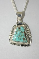 Number 8 Mine Turquoise Pendant - N85921 - SOLD