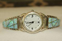 Blue Opal Inlaid Ladies Watch - W107 - SOLD