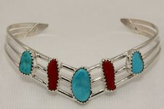 Turquoise & Coral 5 Stone Bracelet - BR2664
